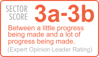 3a - 3b Between a little progress being made and a lot of progress being made. (Expert Opinion Leader Rating)